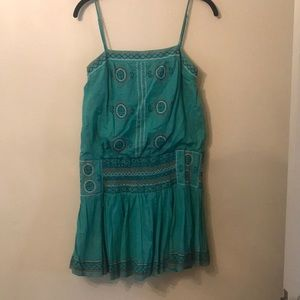 BCBG turquoise embroidered dress